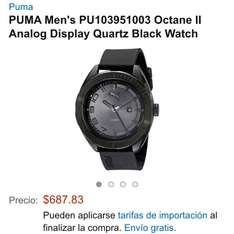 Amazon: reloj Puma PU103951003 Octane II Analog Display Quartz Black a $687.83, PU103951005 a $740