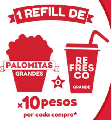 Cinemex Invitado Especial: 1 Refill de Palomitas o Refresco Grande x $10