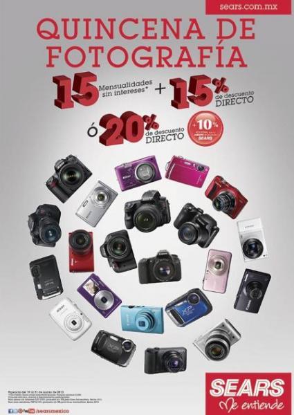 Sears: 20% de descuento en cámaras digitales ó 15% + 15 MSI