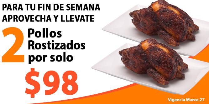 Comercial Mexicana: 2 pollos rostizados por $98