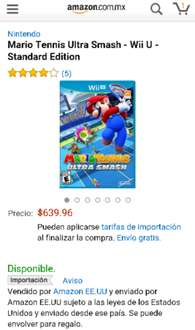 Amazon: Mario Tennis: Ultra Smash (Wii U) a $524