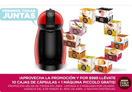 Cafetera Dolce Gusto gratis en la compra de 10 cajas de cápsulas ($989)