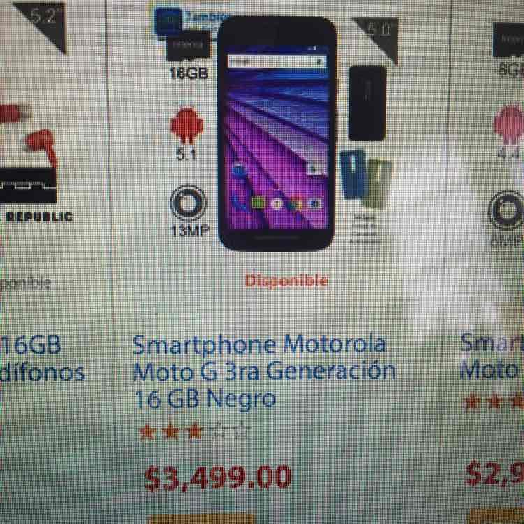 Walmart en línea: Moto G 3ra generación a $3,499