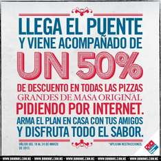 Domino's Pizza: 50% de descuento en pizzas grandes de hasta 9 ingredientes