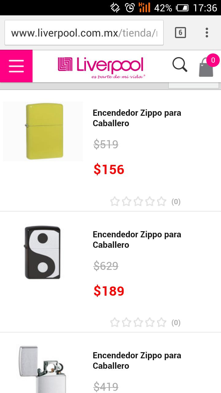 Liverpool en línea: Encendedores Zippo desde $156