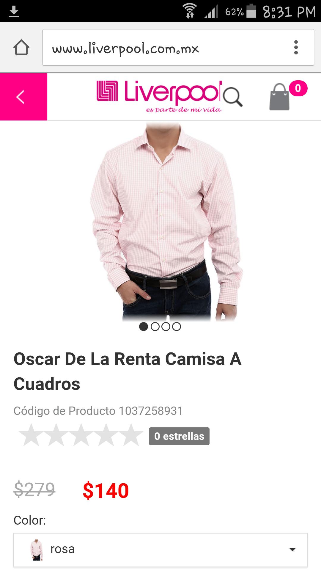 Liverpool en línea: Oscar De La Renta Camisa A Cuadros a $140