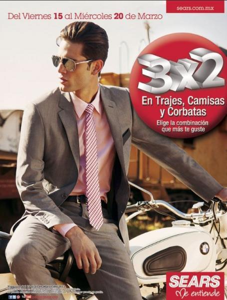 Sears: 3x2 en trajes, corbatas y camisas