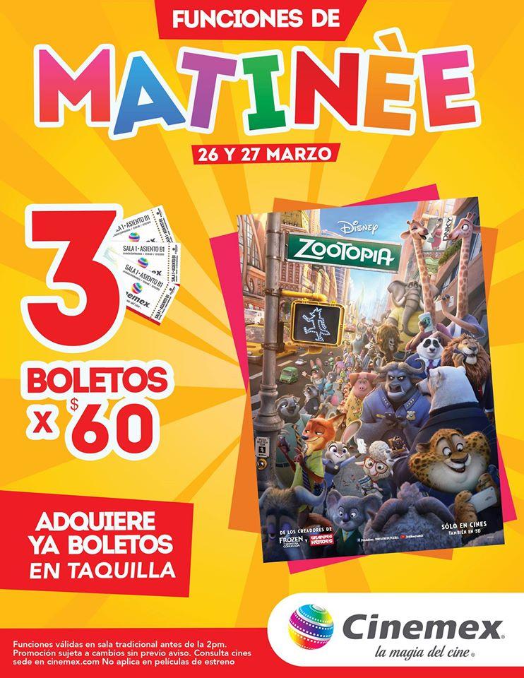 3 boletos para Zootopia de Matinée en Cinemex por $60 matinée 27 de marzo