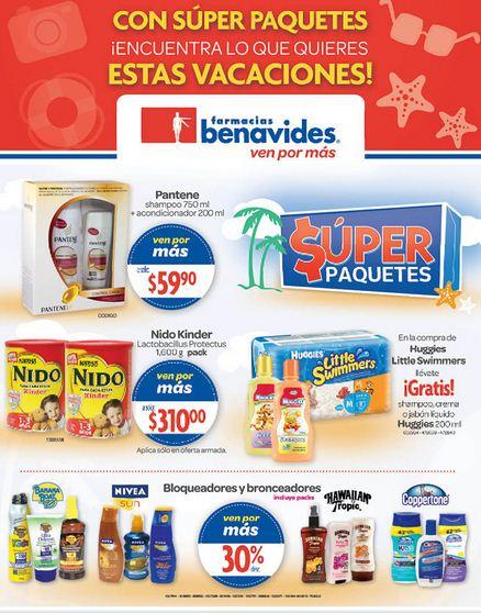 Folleto Farmacias Benavides: 30% de descuento en bronceadores y bloqueadores, en marcas Veet y Nair y +