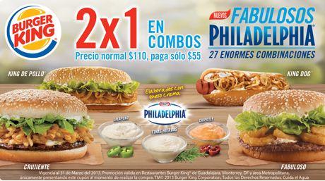 Burger King: 2x1 en combos Fabulosos Philadelphia con cupón
