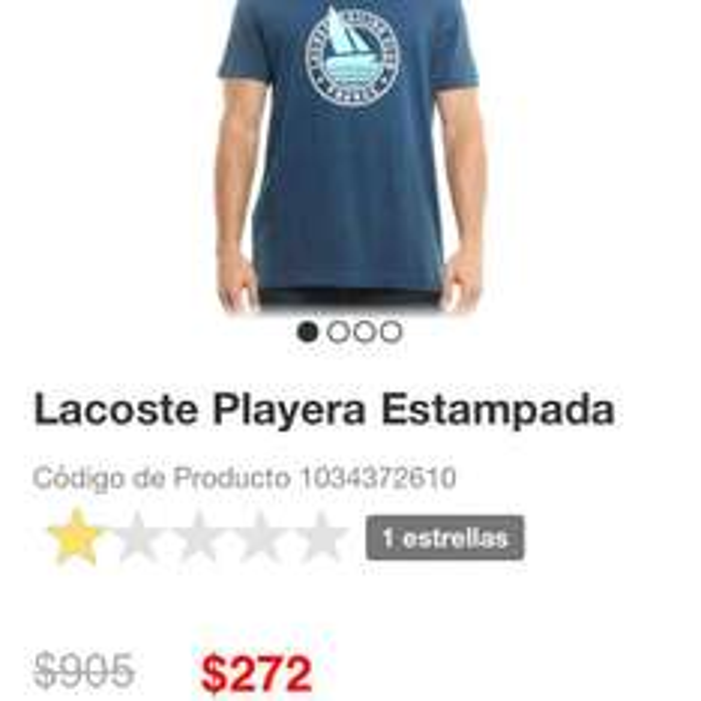 Liverpool en línea: playera Lacoste a $272
