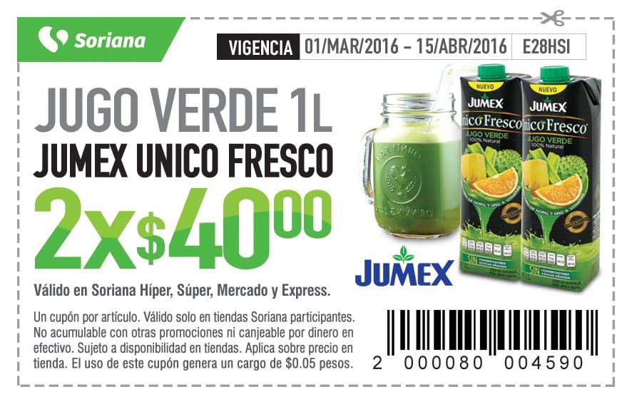 Soriana Soriticket: Jugo Verde Jumex 2 litros por $40