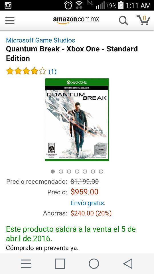 Amazon: Quantum Break para Xbox One a $959