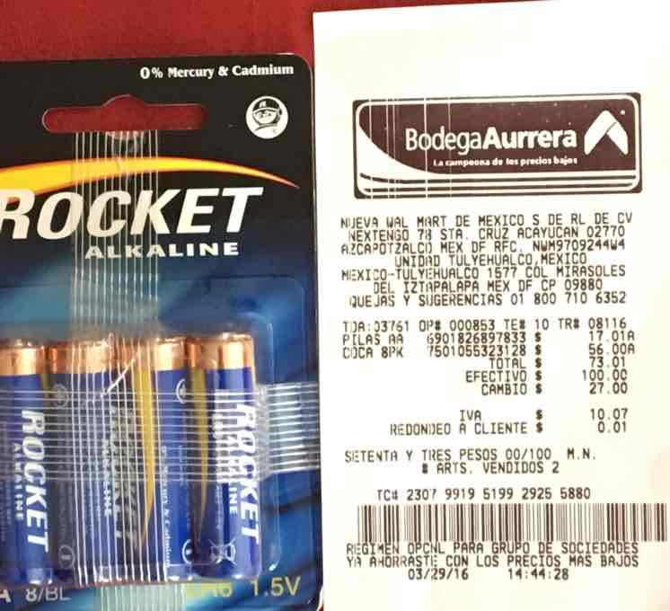 Bodega Aurrerá Tulyehualco CDMX: pilas alcalinas marca Rocket a $17.01