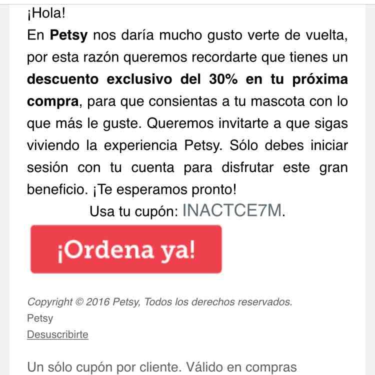 Petsy: 30% descuento con cupón