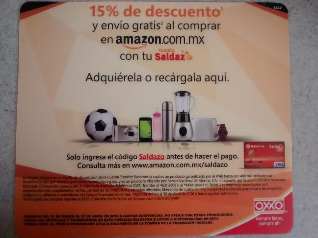 Amazon México: cupón de 15% de descuento al pagar con tarjeta Saldazo