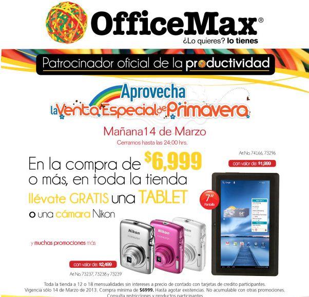 Venta de Primavera OfficeMax: tablet o cámara de regalo compra y más (actualizado)