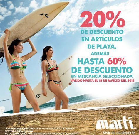 Martí: 20% de descuento en artículos de playa y hasta 60% en mercancía seleccionada