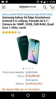 Amazon: Galaxy S6 edge verde a $10,289 ($8,745 con cupon saldazo)