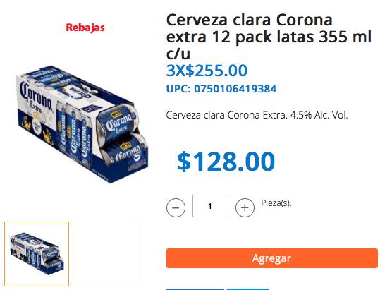 Walmart en línea: 3 paquetes de 12 latas de Corona Extra o Light por $255