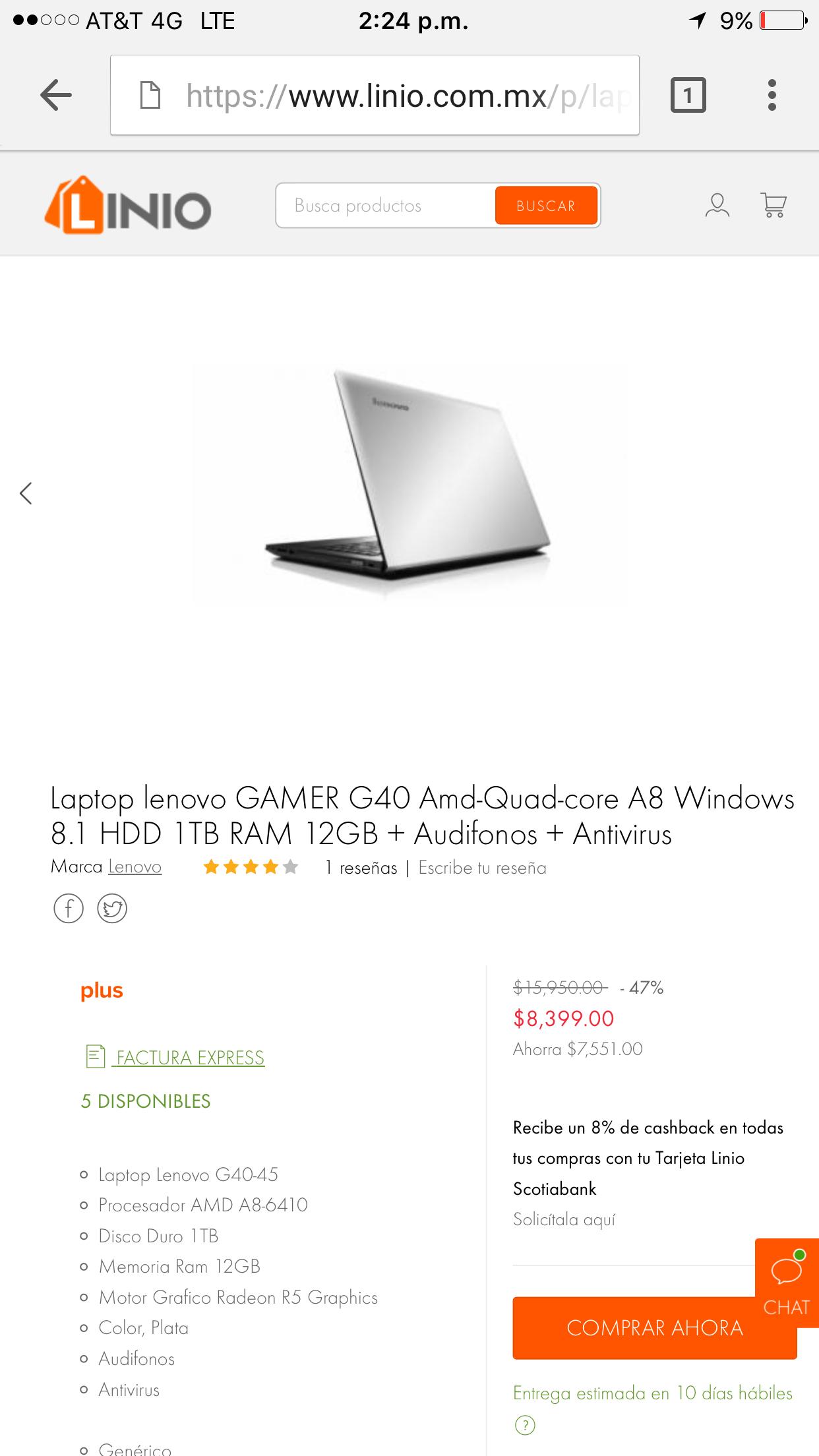 Linio: laptop Lenovo 1Tb de DD 12Gb de RAM a $8,399 o $7139 si te llego cupon