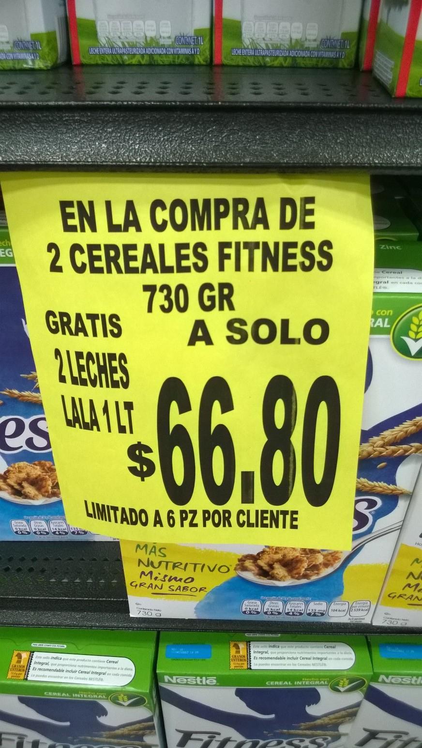 Soriana Súper: 2 leches Lala de 1 litro gratis al comprar 2 cereales Fitness en $66.80