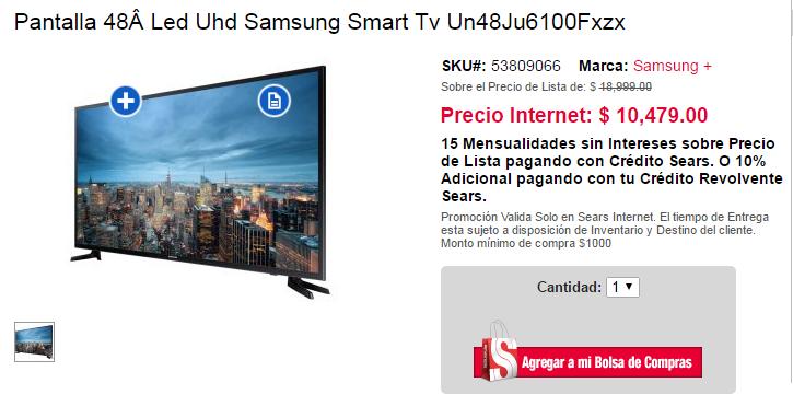 """Sears en línea: Pantalla Samsung Smart 4k 48"""" $10,479 ó $9,431 con crédito revolvente sears"""