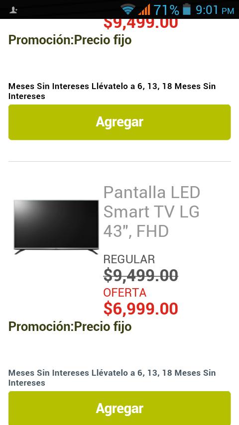 Soriana en línea: pantalla LG LED smart de 43 pulgadas a $7,999