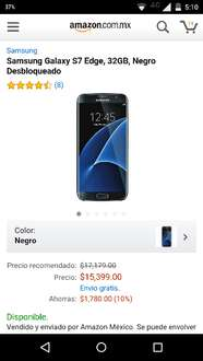 Amazon México: Samsung Galaxy S7 Edge a $15,399 ($13,089 con cupon saldazo)