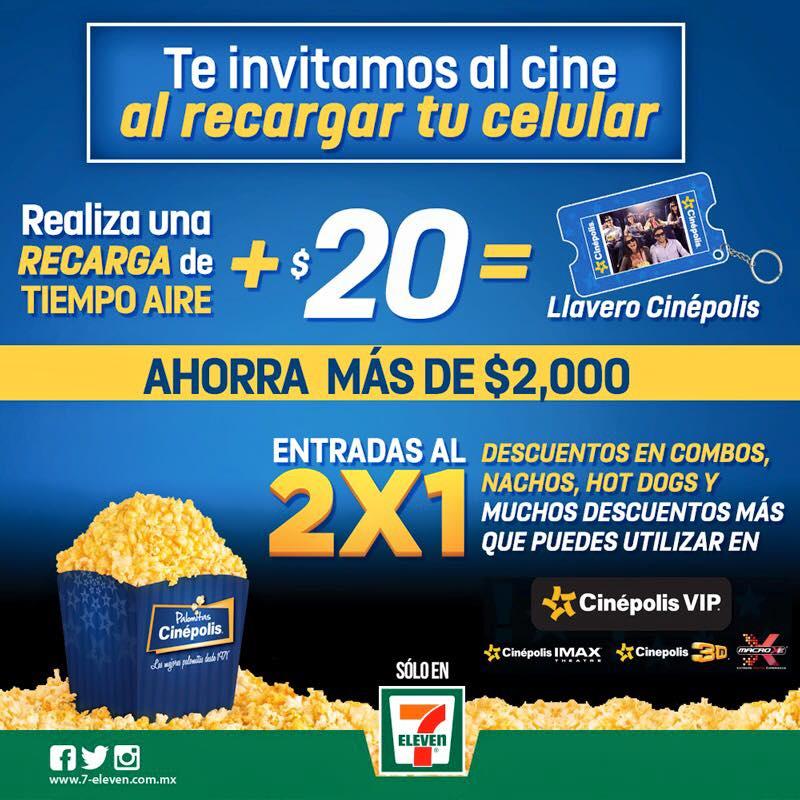7-Eleven: recarga tiempo aire + $20 = Llavero de promociones Cinépolis