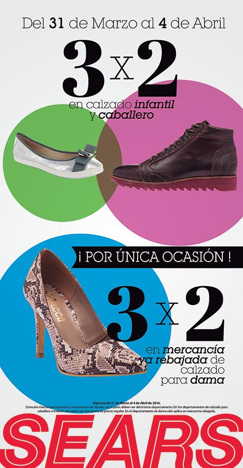 Sears: Zapatos Caballero e infantil al 3x2
