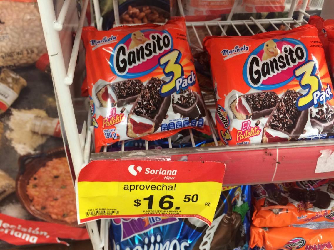 Soriana: 3 Gansitos por $16.50