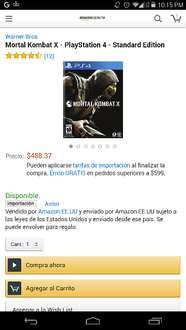 Amazon MX: Mortal Kombat X para PS4 $488.37