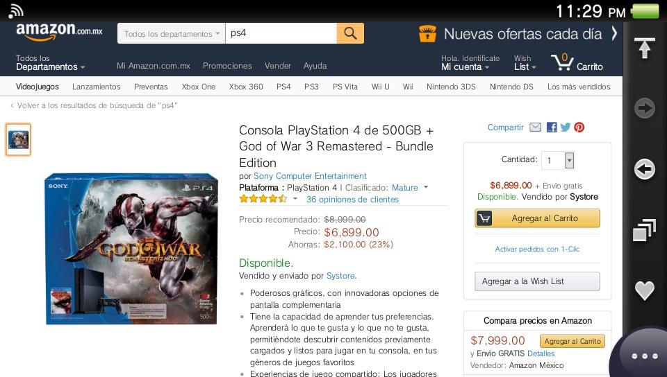 Amazon: consola PS4 Good of War de 500gb a $6,899