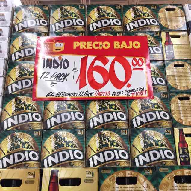 Walmart: cerveza Indio al 2 x 1, $160 por 24 piezas