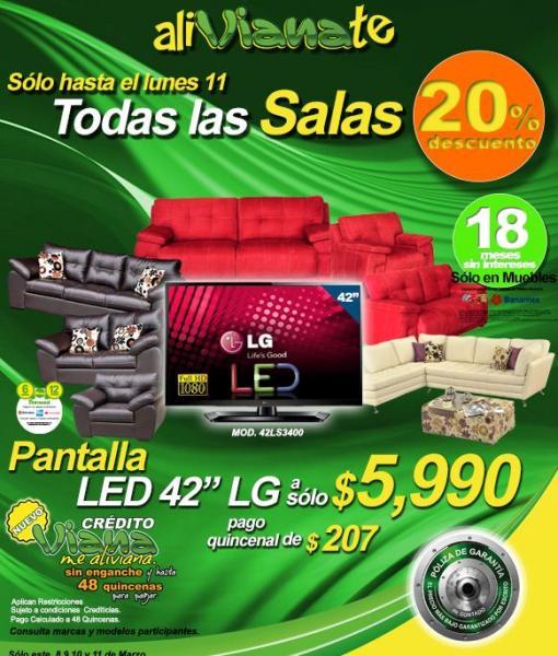 """Viana: pantalla LED 42"""" LG a $5,990"""