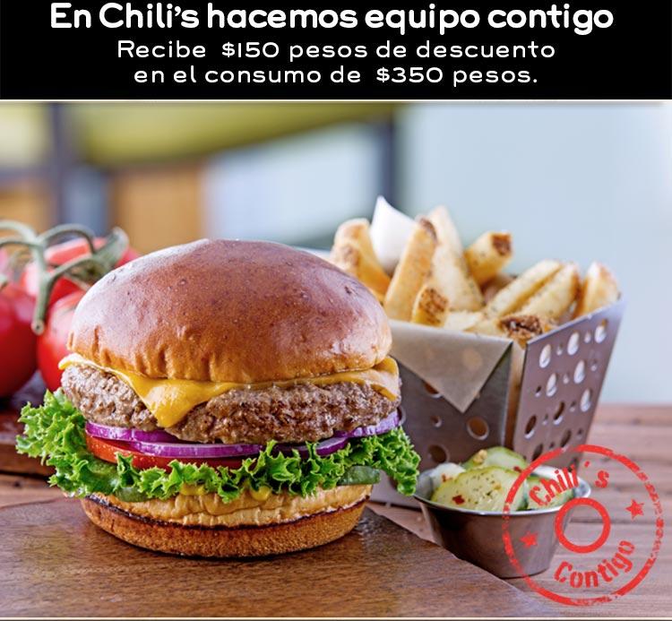 Chilis: $150 de descuento en consumo mayor a $350