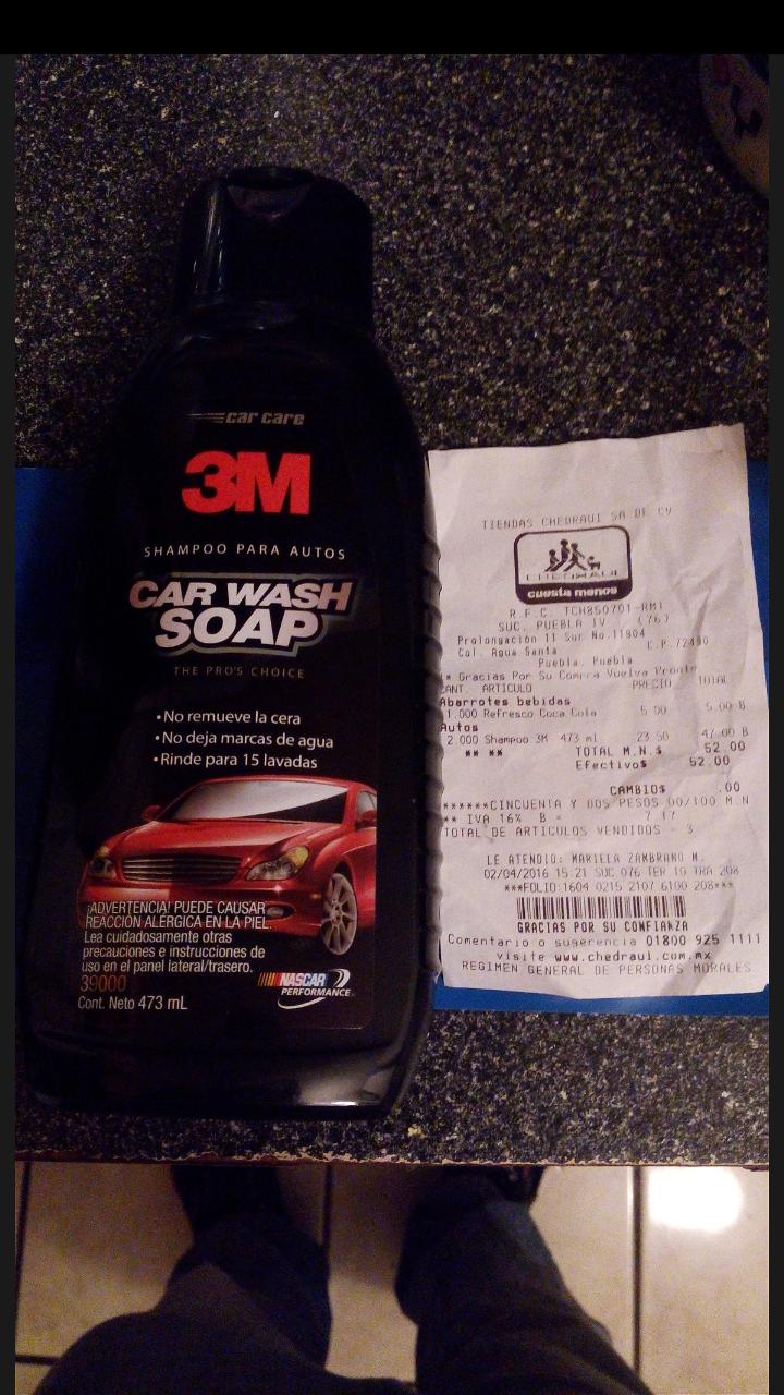 Chedraui Centro Sur, Puebla: Shampoo para auto marca 3M de 473ml a $23.50
