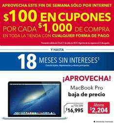 Best Buy: $100 en cupones por cada $1,000. MacBook Pro $16,995 y $1,600 en cupones