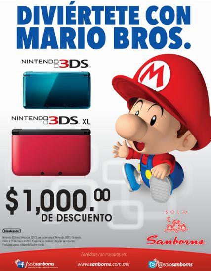 $1,000 de descuento en consolas Nintendo 3DS (desde $2,490)