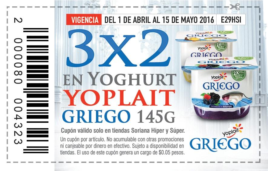 Soriana Soriticket: cupón para yoghurt Yoplait Griego 3x2