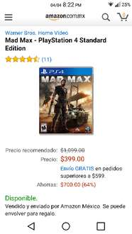 Amazon: Mad Max para PS4 a $399