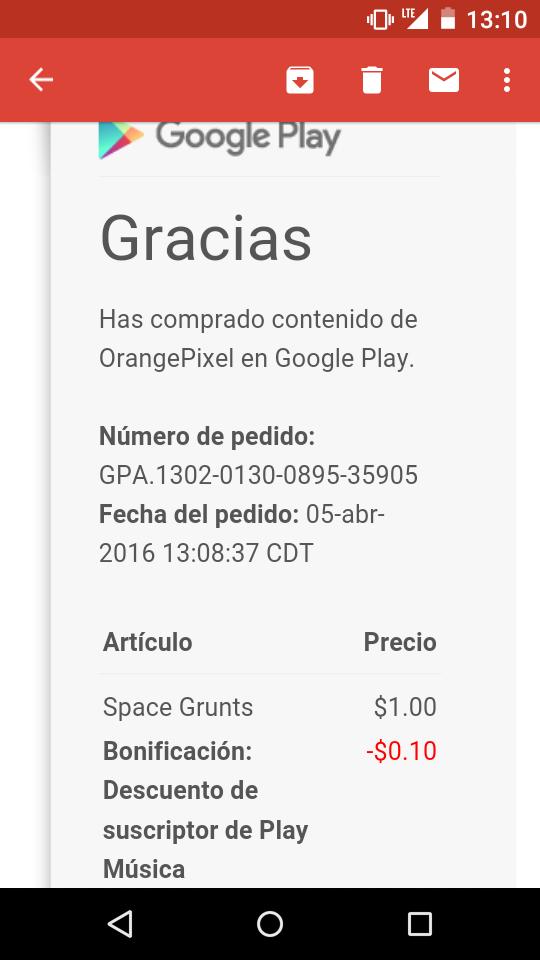 10% descuento en Google Play por suscripción a Musica.