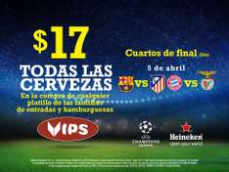Vips: todas las cervezas a $17 los días de Champions comprando alimento