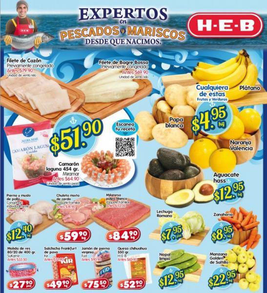Frutas y verduras HEB: aguacate $12.95, plátano $4.95 y más