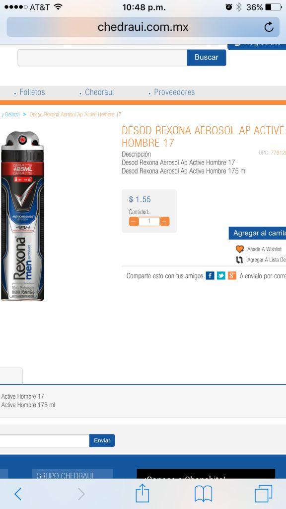 Chedraui en línea: Desodorante Rexona aerosol a $1.55