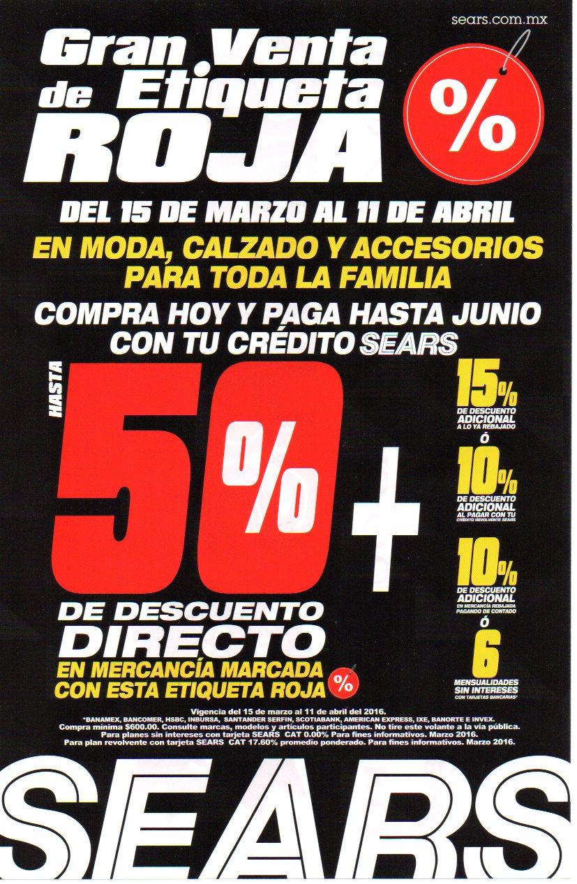 Sears: Gran Venta de Etiqueta Roja hasta el 11 de abril.