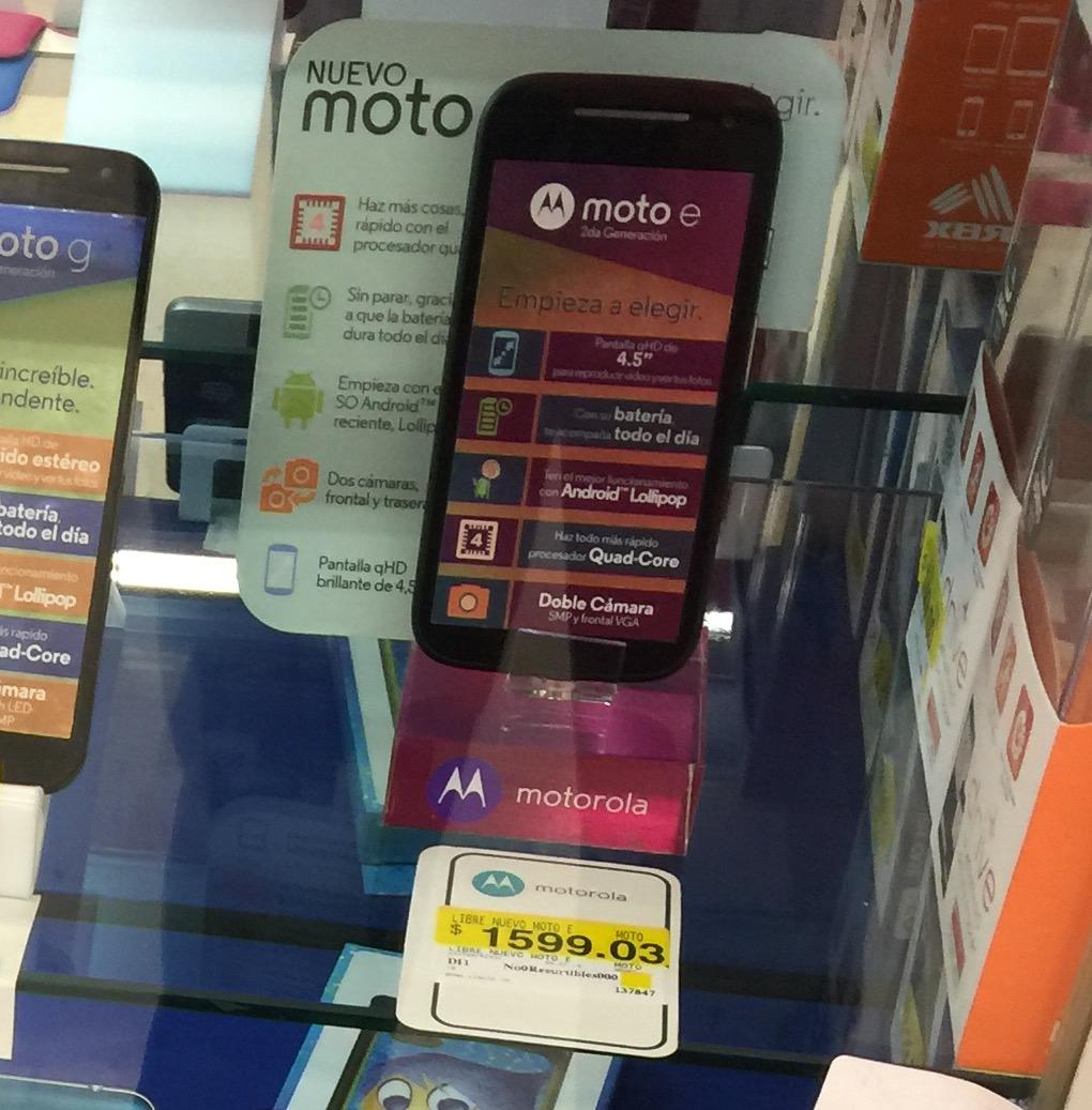 Walmart Plaza Aragon: Motorola Moto E segunda generación a $1,599.03