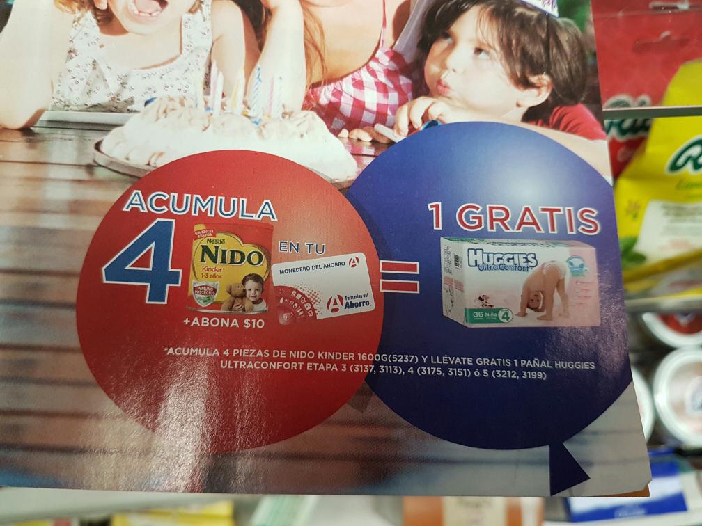 Farmacias del Ahorro: 4 latas de leche nido + $10 te llevas gratis un paquete de pañales