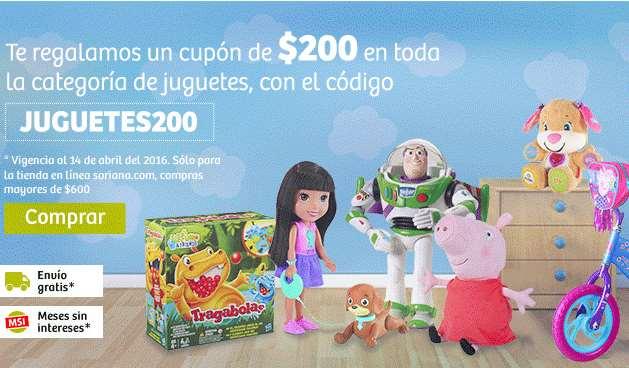 Soriana: cupón $200 de descuento en juguetes (online, mín $600)